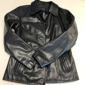 Steve Madden Black Lined Genuine Leather Jacket-S